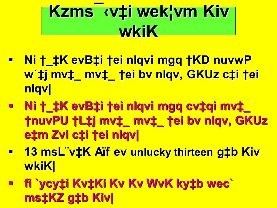 Kzms¯‹v‡i wek¦vm Kiv wkiK