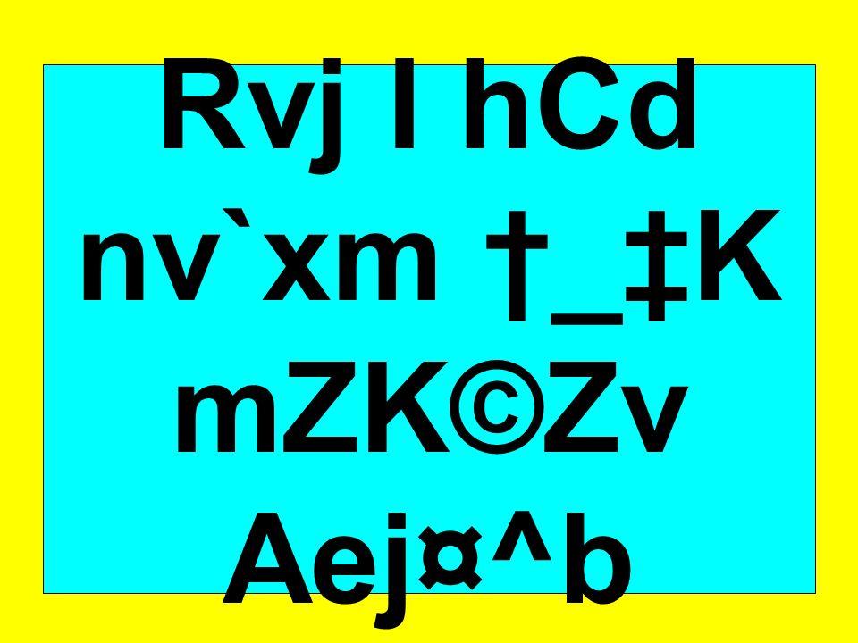 Rvj I hCd nv`xm †_‡K mZK©Zv Aej¤^b