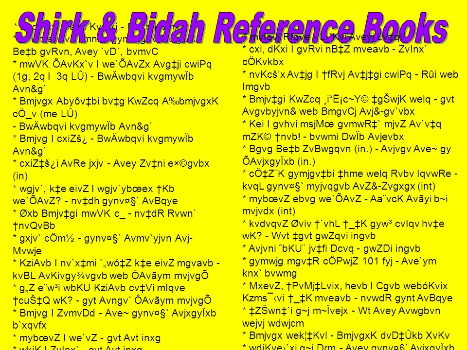 Shirk & Bidah Reference Books