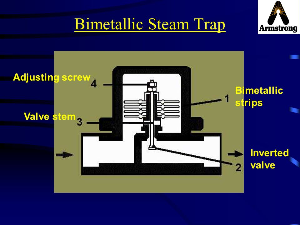 Bimetallic Steam Trap Adjusting screw Bimetallic strips Valve stem