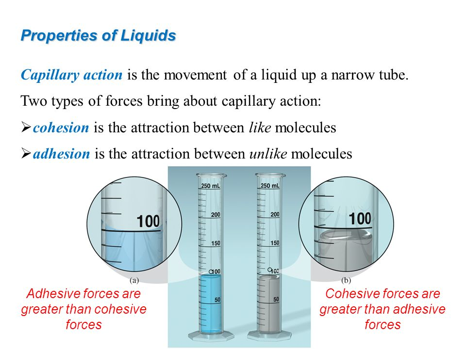 Capillary action is the movement of a liquid up a narrow tube.