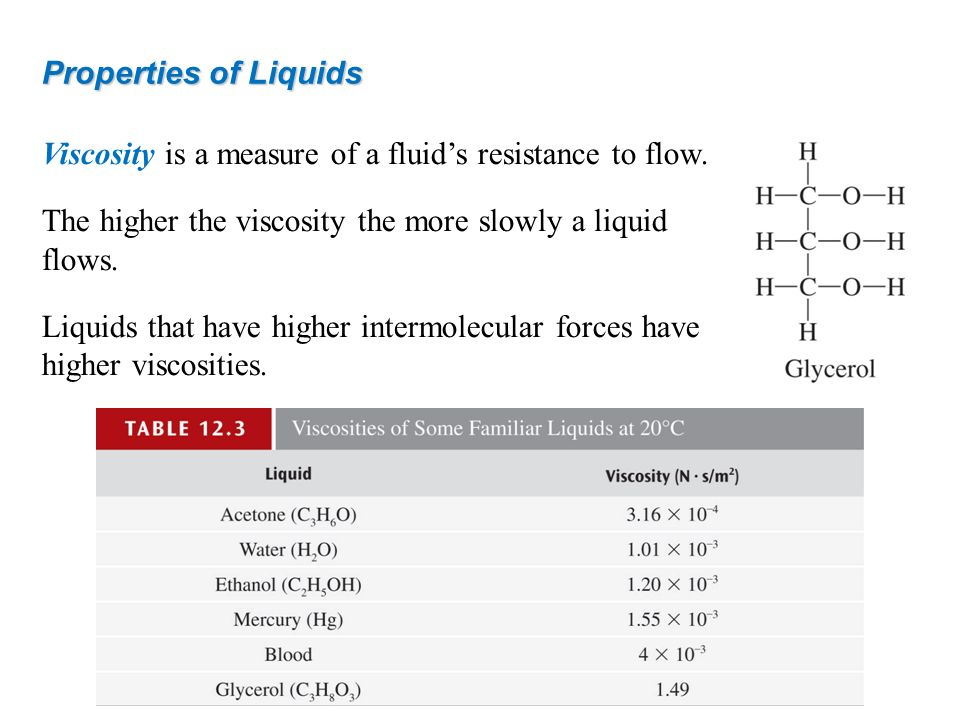 Properties of Liquids Viscosity is a measure of a fluid's resistance to flow. The higher the viscosity the more slowly a liquid flows.