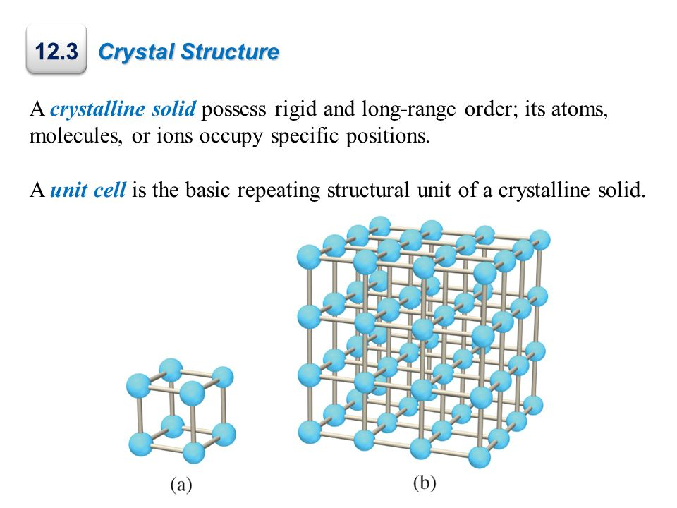 Crystal Structure A crystalline solid possess rigid and long-range order; its atoms, molecules, or ions occupy specific positions.