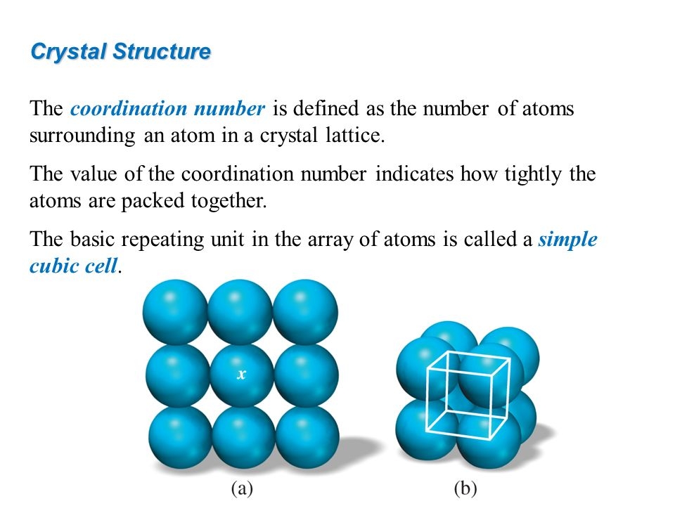 Crystal Structure The coordination number is defined as the number of atoms surrounding an atom in a crystal lattice.