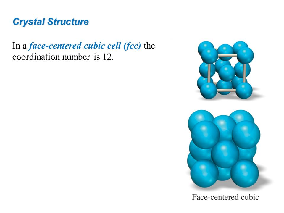 Crystal Structure In a face-centered cubic cell (fcc) the coordination number is 12.