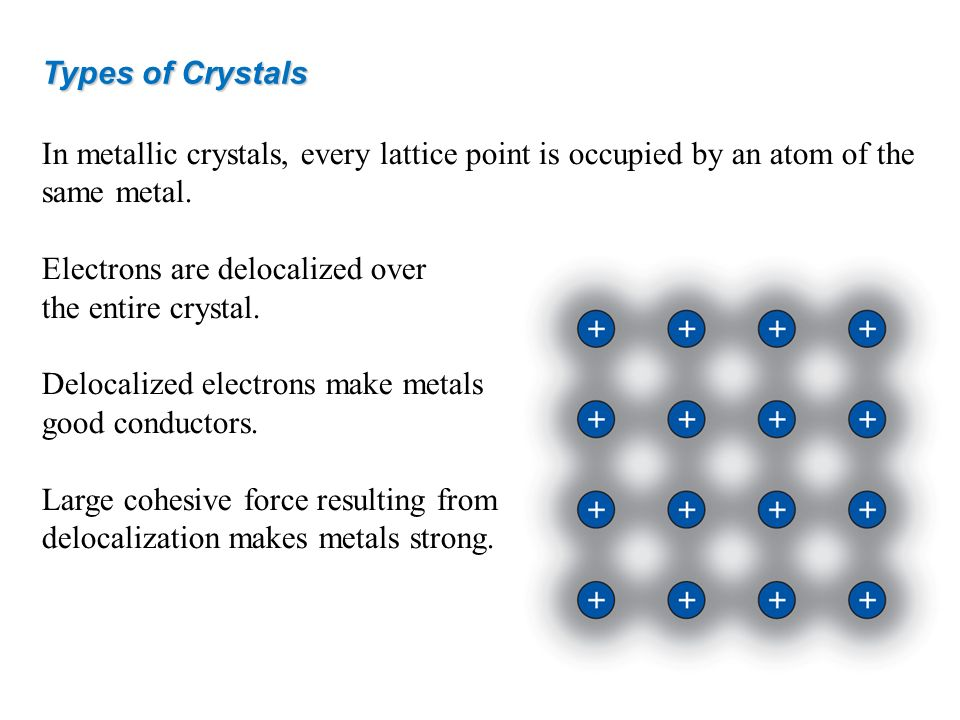 Electrons are delocalized over the entire crystal.
