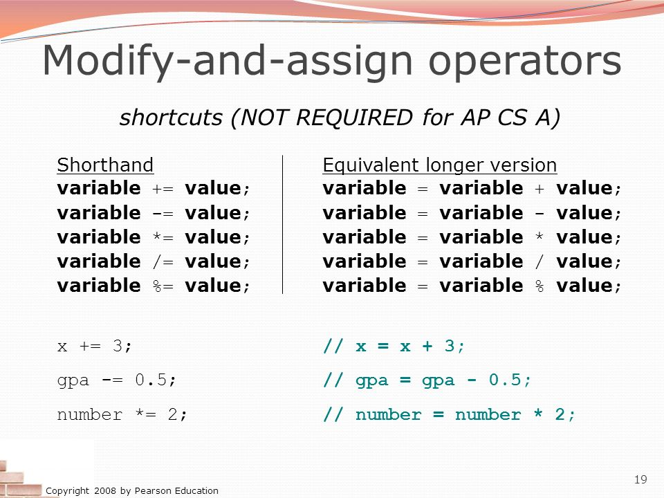 Modify-and-assign operators