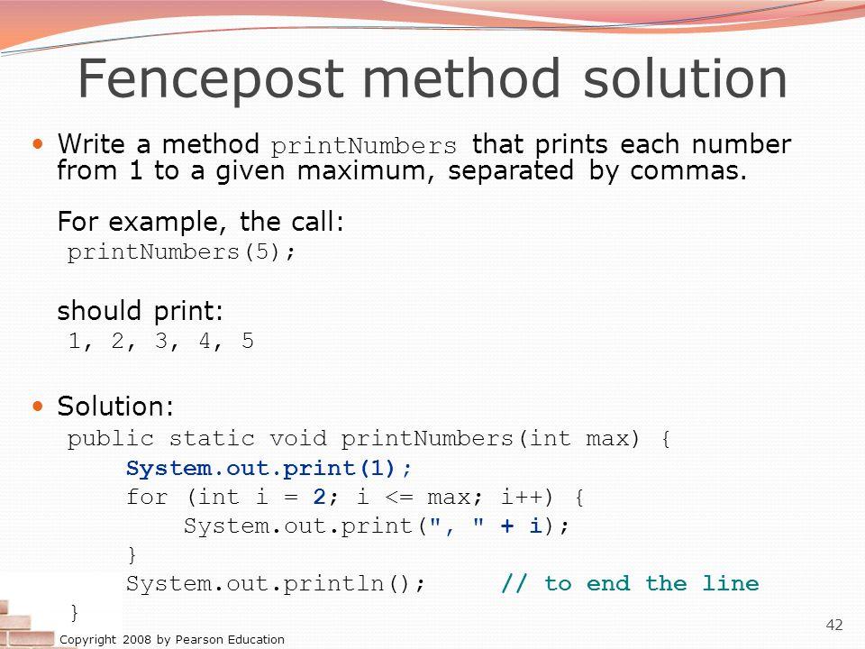 Fencepost method solution