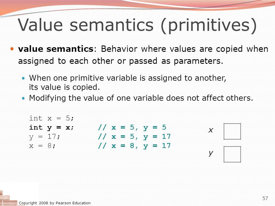 Value semantics (primitives)