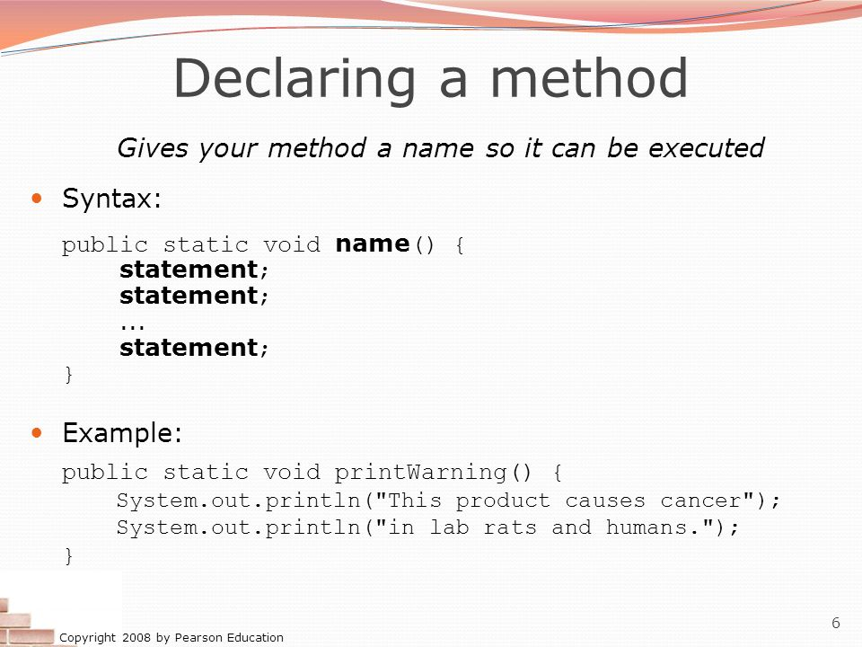 Gives your method a name so it can be executed