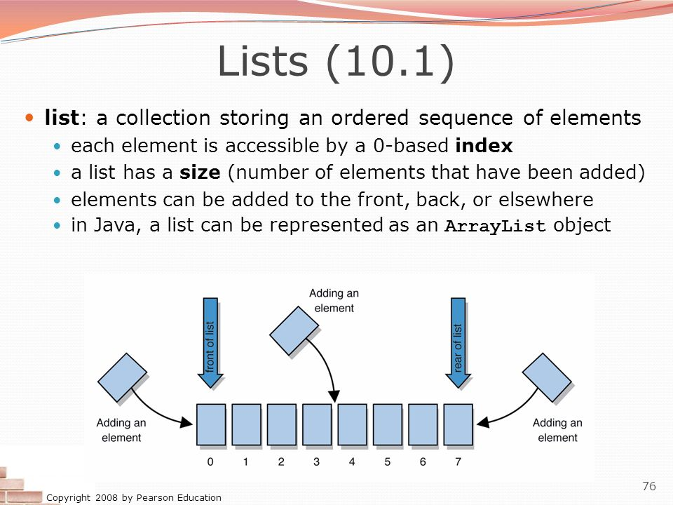 Lists (10.1) list: a collection storing an ordered sequence of elements. each element is accessible by a 0-based index.