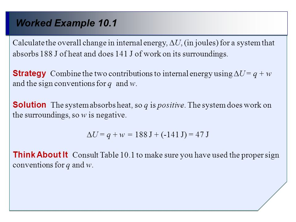 Worked Example 10.1