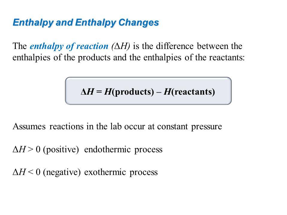 ΔH = H(products) – H(reactants)