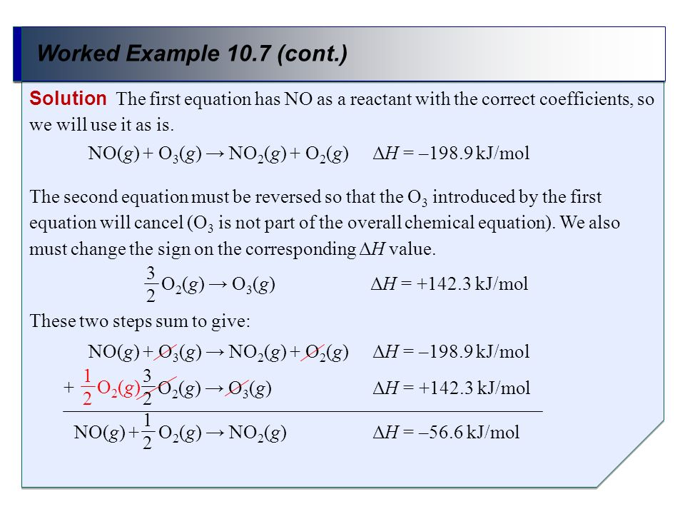 Worked Example 10.7 (cont.)Solution The first equation has NO as a reactant with the correct coefficients, so we will use it as is.
