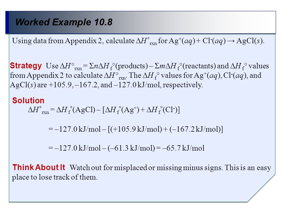 Worked Example 10.8Using data from Appendix 2, calculate ΔH °rxn for Ag+(aq) + Cl-(aq) → AgCl(s).