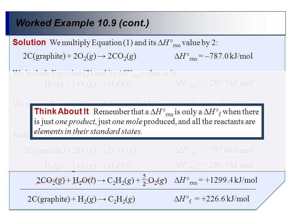 Worked Example 10.9 (cont.)Solution We multiply Equation (1) and its ΔH °rxn value by 2: We include Equation (2) and its ΔH °rxn value as is:
