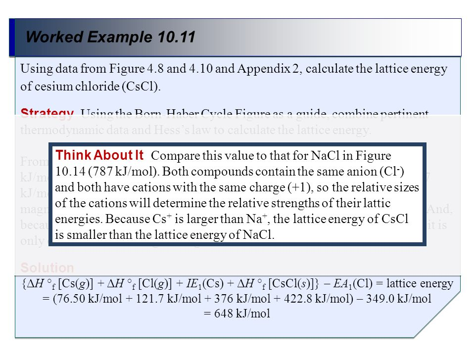 Worked Example 10.11 Using data from Figure 4.8 and 4.10 and Appendix 2, calculate the lattice energy of cesium chloride (CsCl).