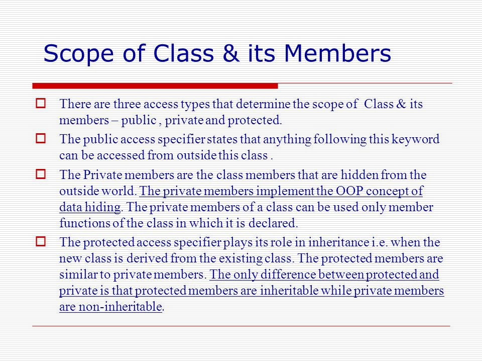 Scope of Class & its Members