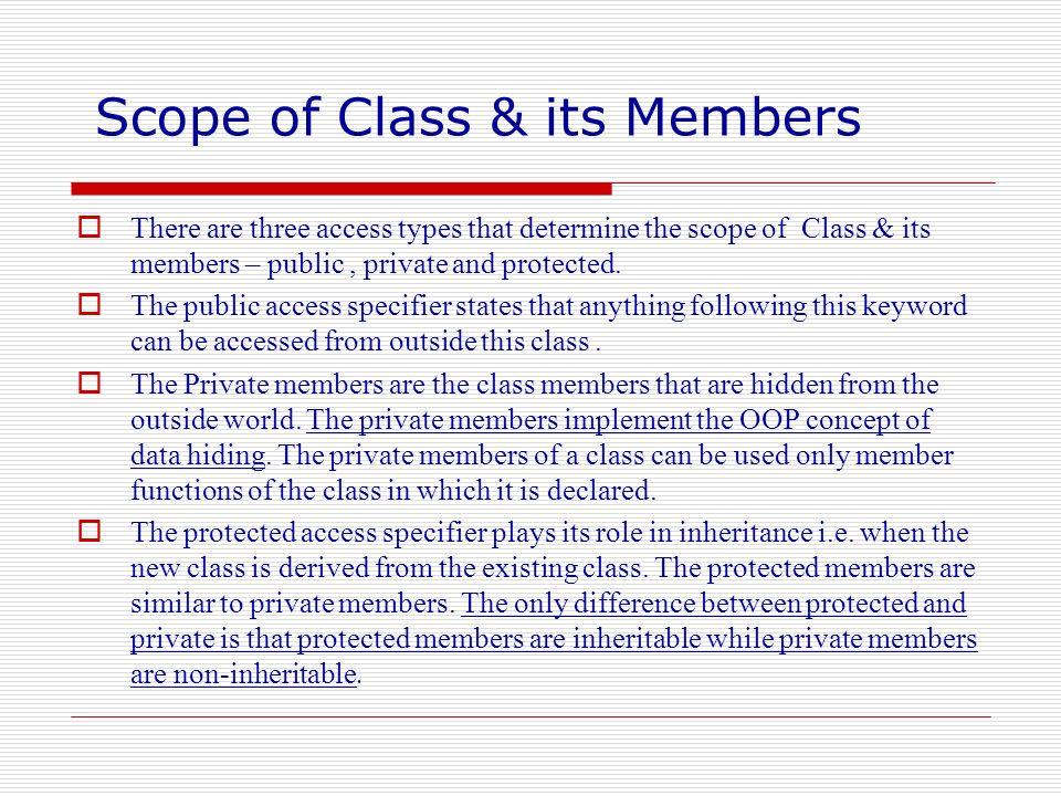 Scope of Class & its Members
