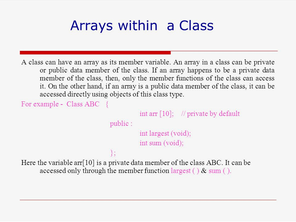 Arrays within a Class