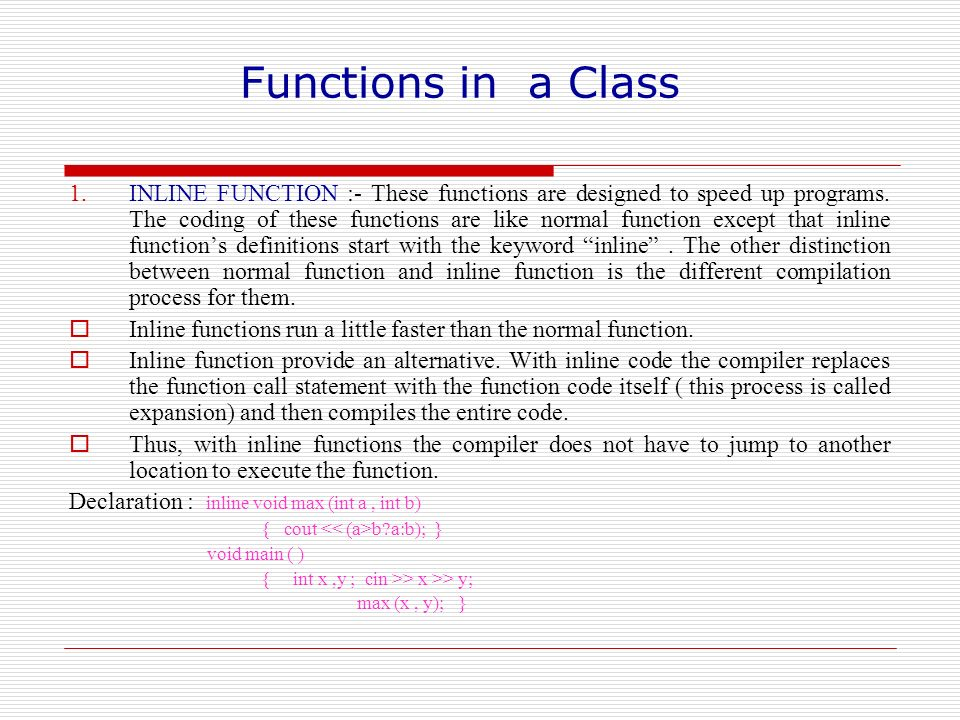 Functions in a Class