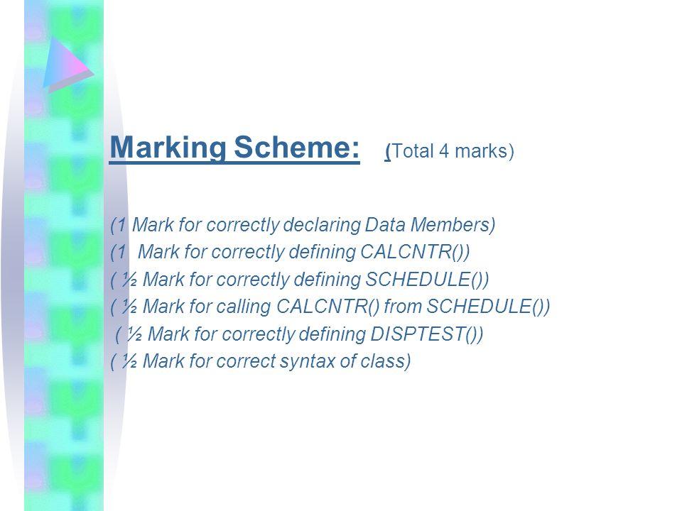 Marking Scheme: (Total 4 marks)