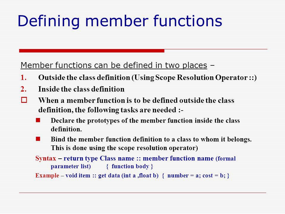 Defining member functions