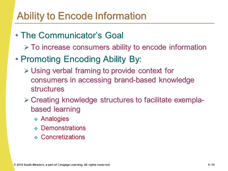 Ability to Encode Information