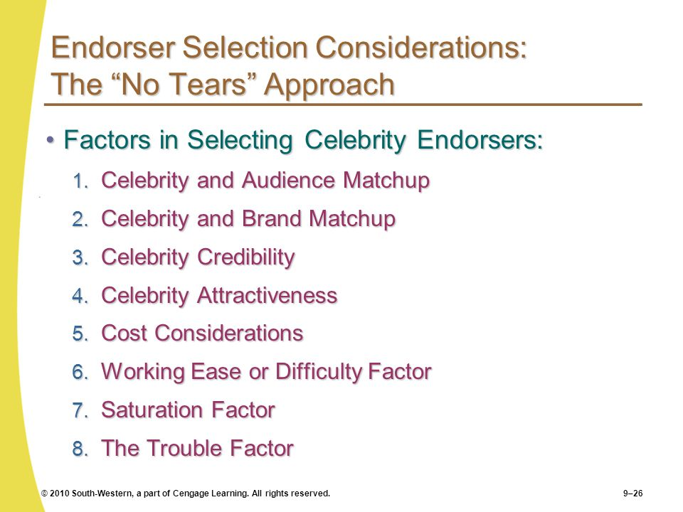 Endorser Selection Considerations: The No Tears Approach