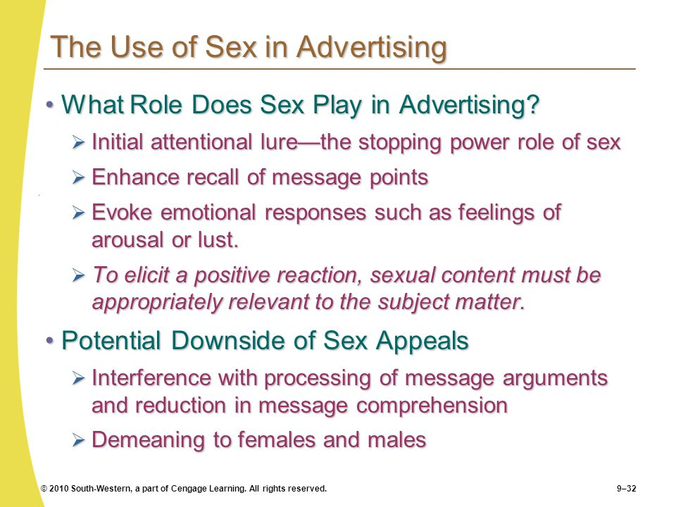 The Use of Sex in Advertising