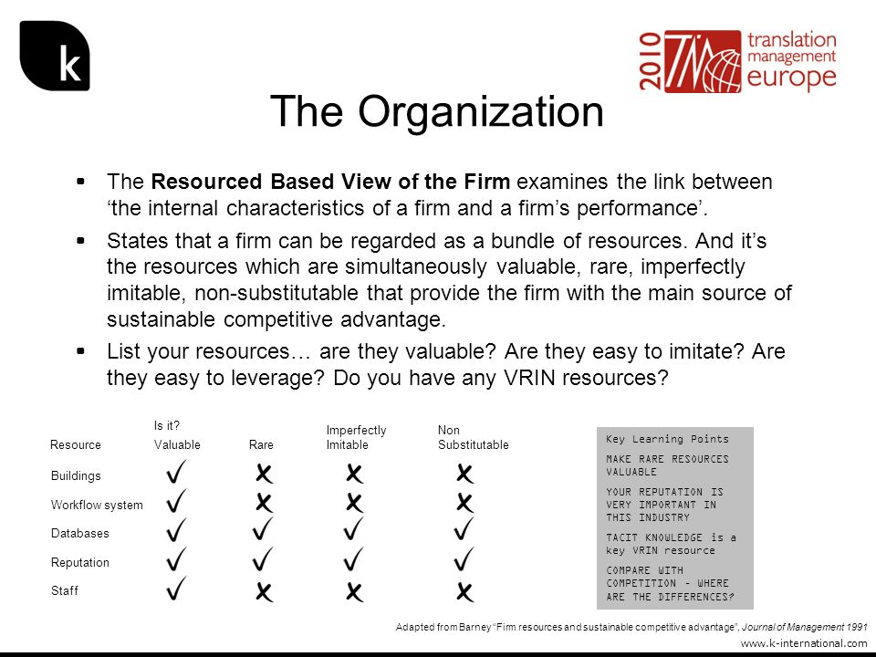 The Organization The Resourced Based View of the Firm examines the link between 'the internal characteristics of a firm and a firm's performance'.