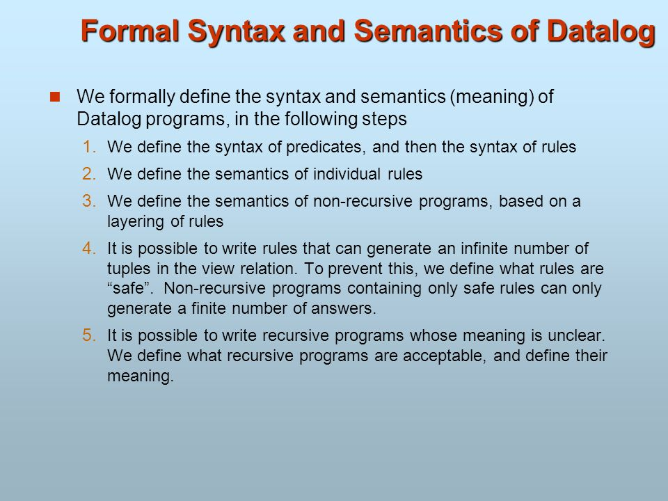 Formal Syntax and Semantics of Datalog