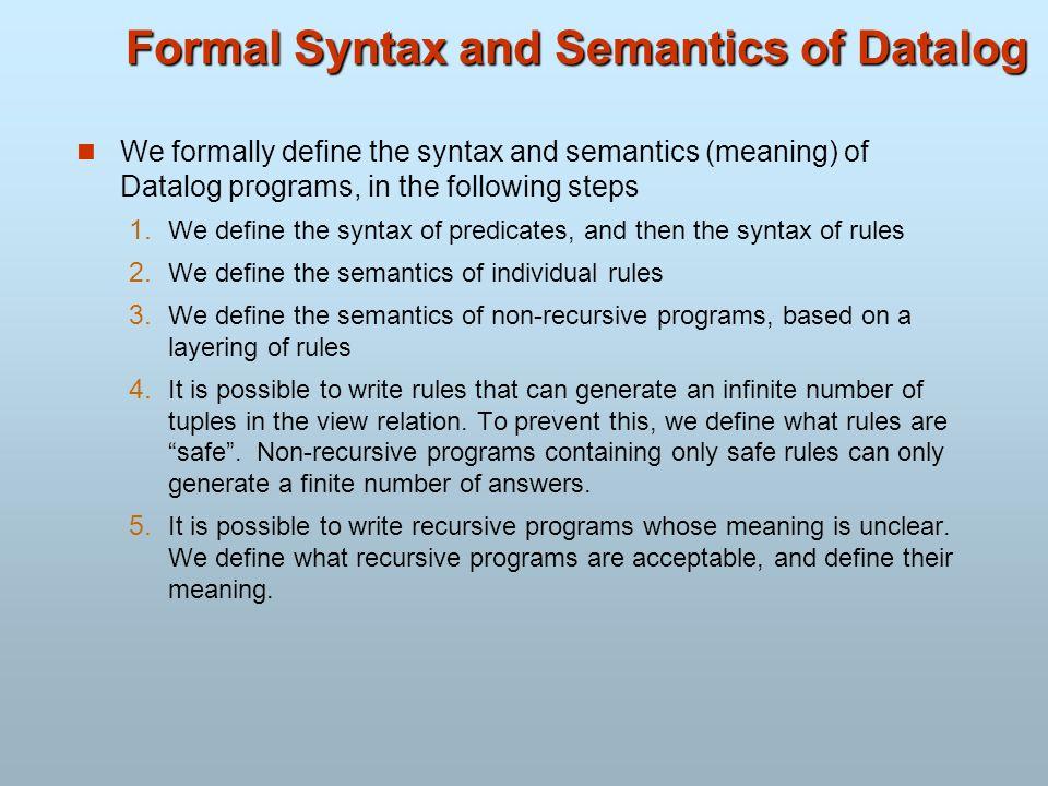 Formal Syntax and Semantics of Datalog