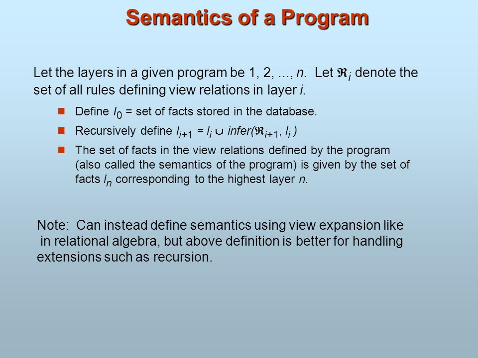 Semantics of a Program Let the layers in a given program be 1, 2, ..., n. Let i denote the. set of all rules defining view relations in layer i.