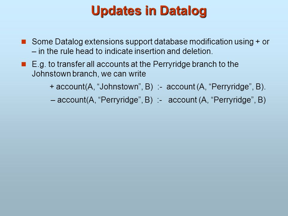 Updates in Datalog Some Datalog extensions support database modification using + or – in the rule head to indicate insertion and deletion.