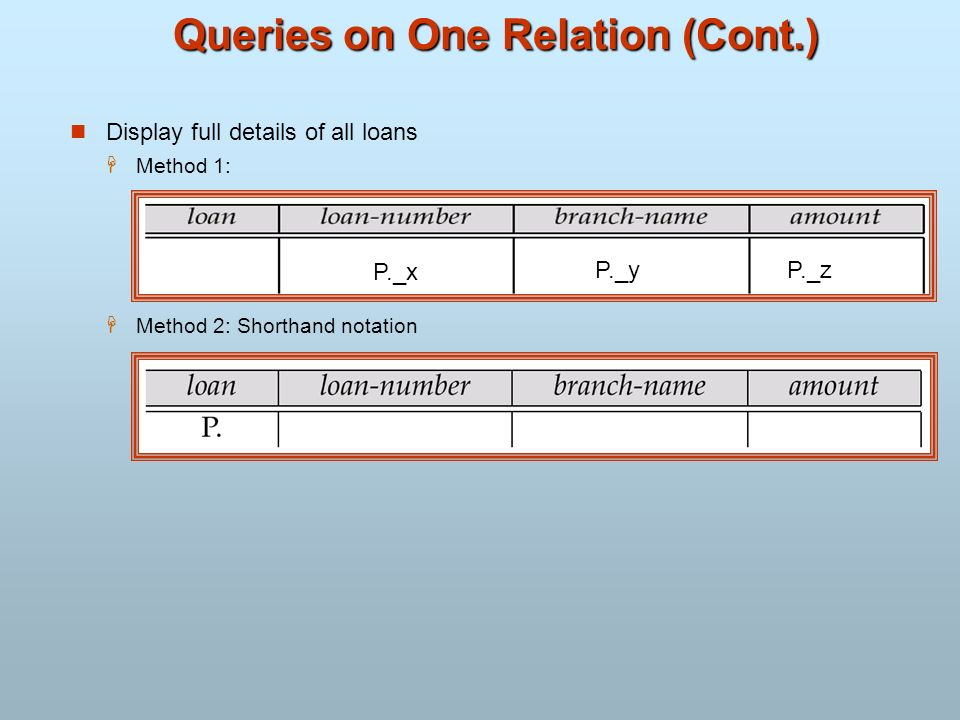 Queries on One Relation (Cont.)