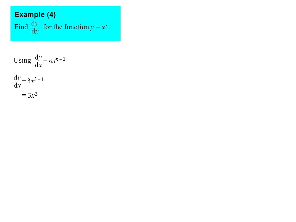 Example (4) Find for the function y = x3. Using = 3x2