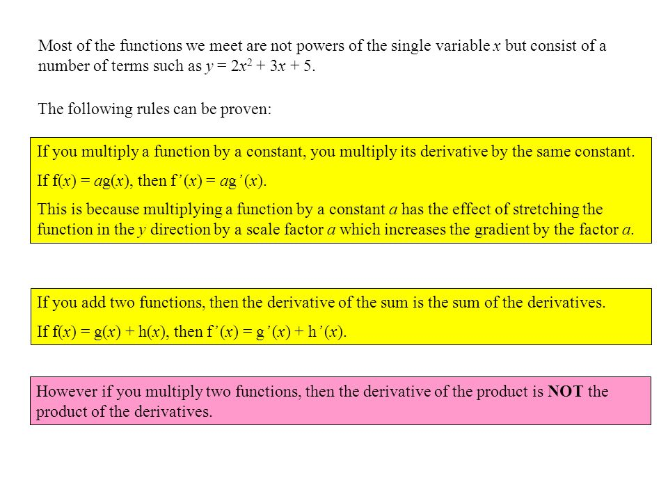 Most of the functions we meet are not powers of the single variable x but consist of a number of terms such as y = 2x2 + 3x + 5.