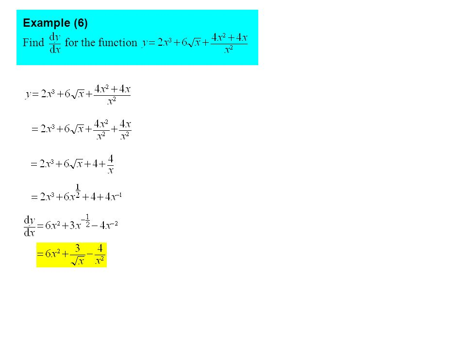 Example (6) Find for the function