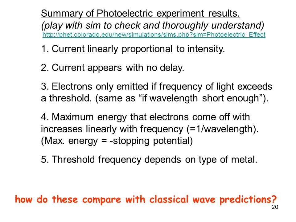 Summary of Photoelectric experiment results.