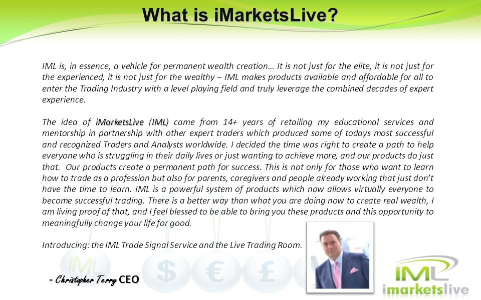 What is iMarketsLive - Christopher Terry CEO