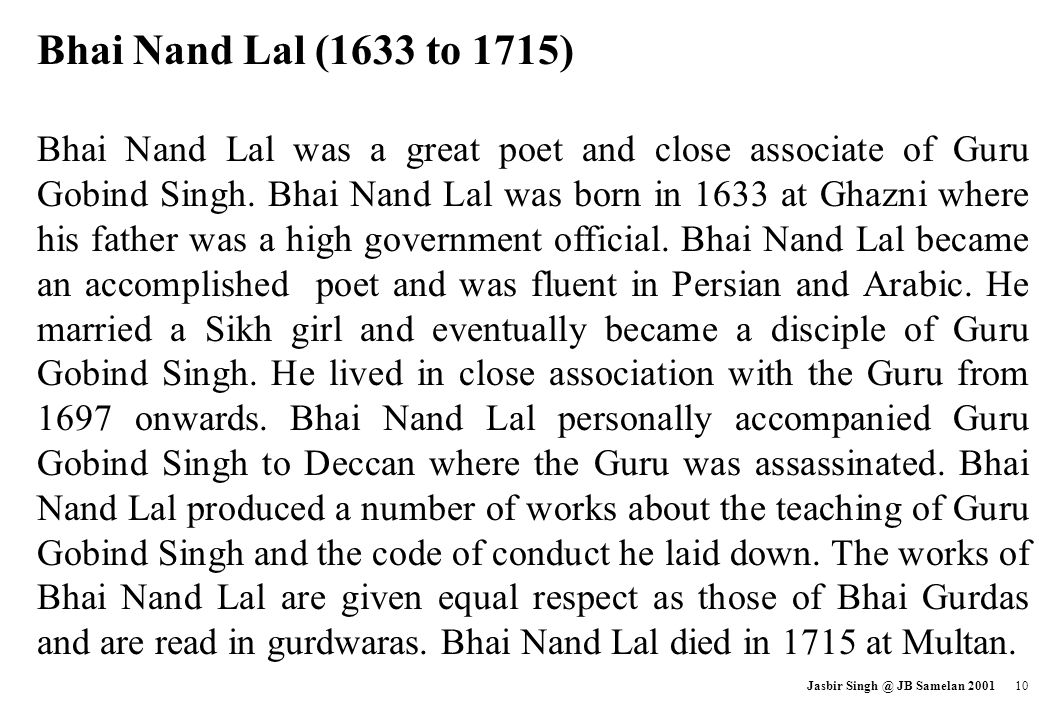 Bhai Nand Lal (1633 to 1715)