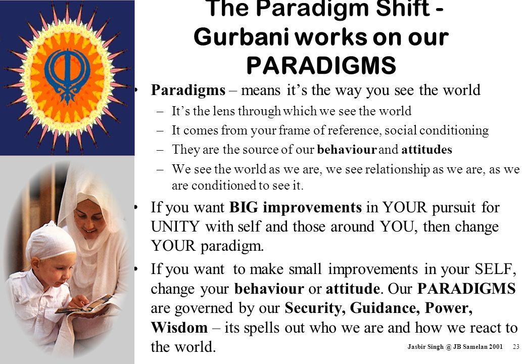 The Paradigm Shift - Gurbani works on our PARADIGMS