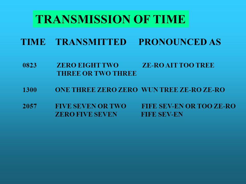TRANSMISSION OF TIME TIME TRANSMITTED PRONOUNCED AS