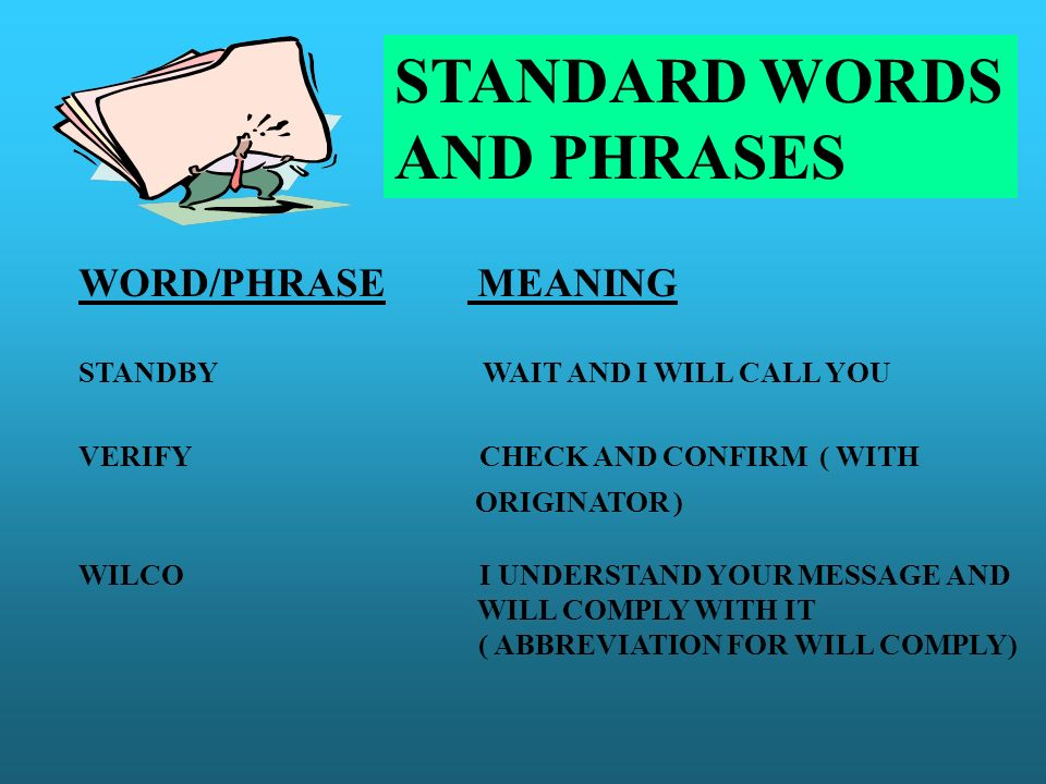 STANDARD WORDS AND PHRASES WORD/PHRASE MEANING ORIGINATOR )