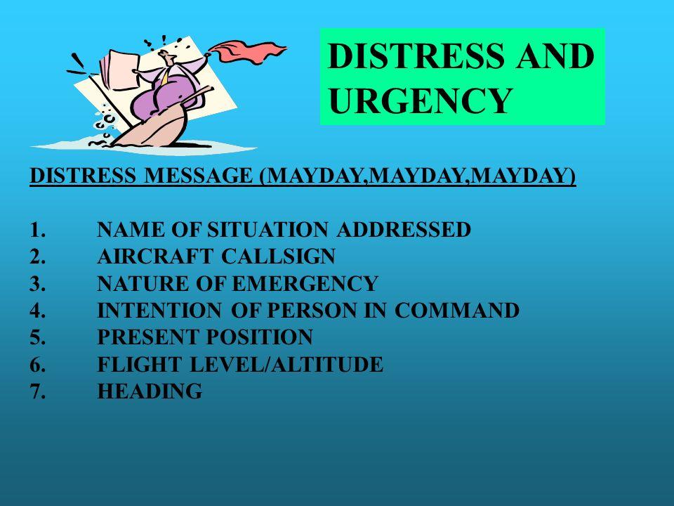 DISTRESS AND URGENCY DISTRESS MESSAGE (MAYDAY,MAYDAY,MAYDAY)