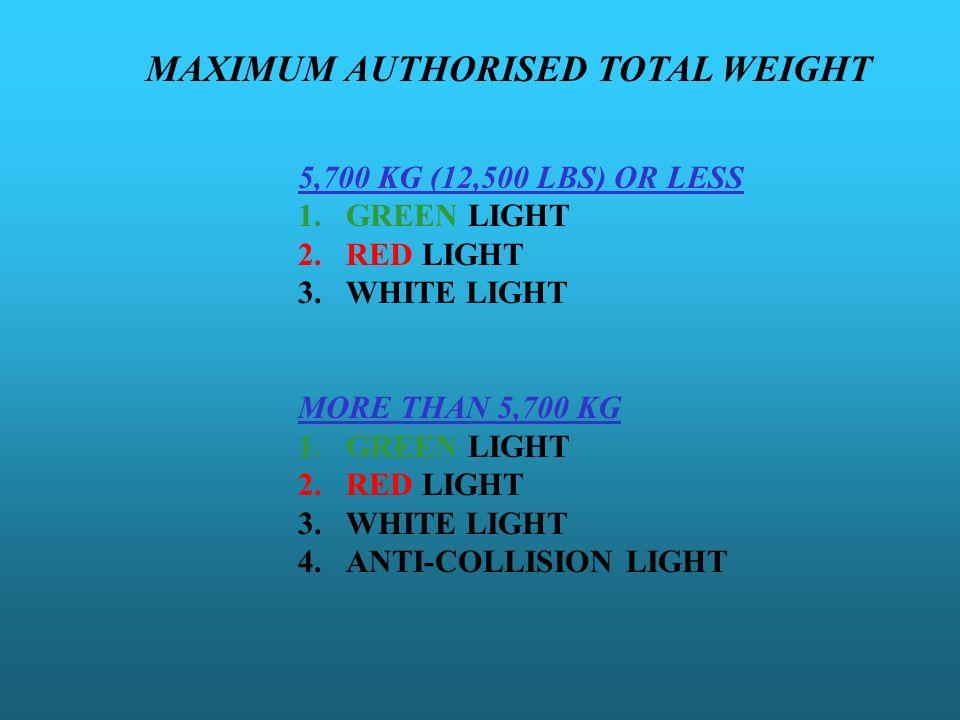 MAXIMUM AUTHORISED TOTAL WEIGHT