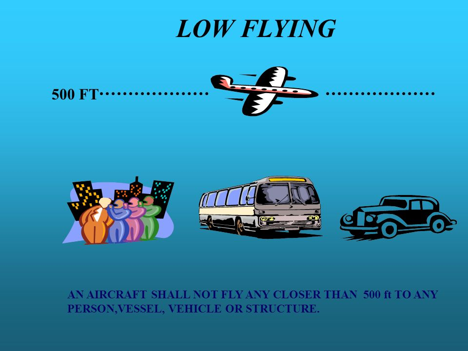 LOW FLYING 500 FT. AN AIRCRAFT SHALL NOT FLY ANY CLOSER THAN 500 ft TO ANY.