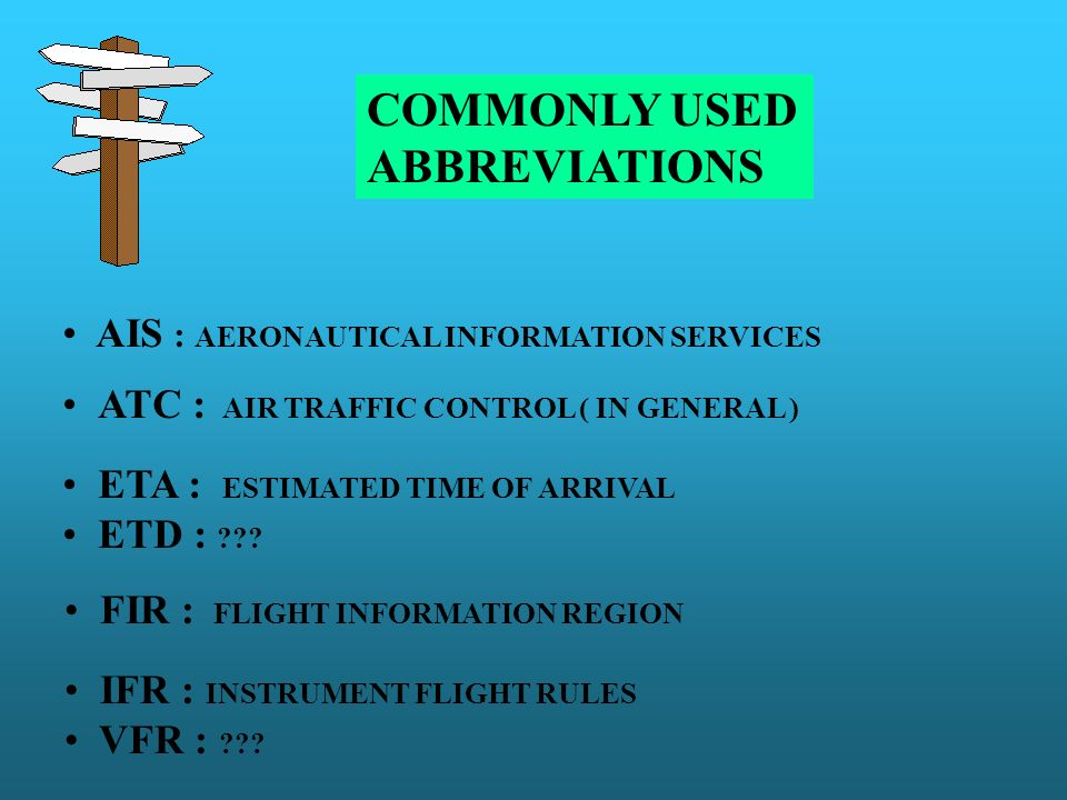 COMMONLY USED ABBREVIATIONS AIS : AERONAUTICAL INFORMATION SERVICES