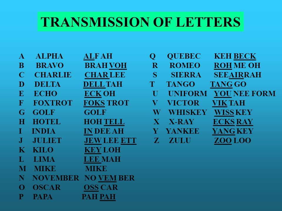 TRANSMISSION OF LETTERS